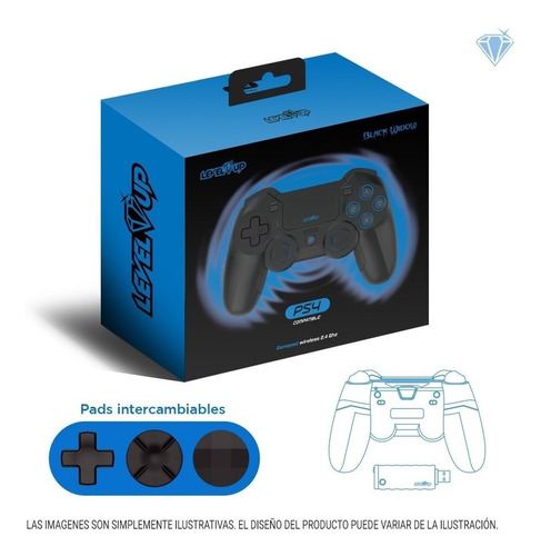 [814248011632] Joystick Ps4 Level Up Black Widow